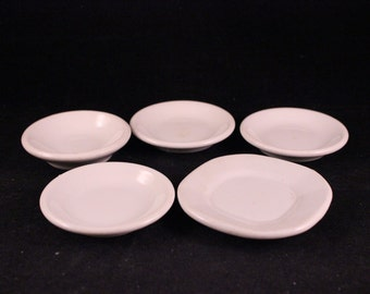 Set of 5 Vintage White Ironstone China Butter Pat Dishes