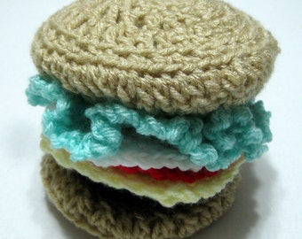 Crocheted Children's Sensory Cheeseburger Puzzle Fidget Toy Featuring Velcro Fasteners