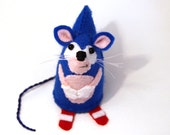 RESERVED Sonic the Hedgehog Mouse Ornament Artisan felt rat mice hamster cute adorable Sega geek gift for video game fan - Sonic the Mouse