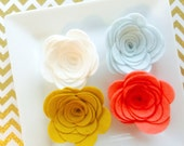 Wool felt rose - large spring rose - mint - coral - white - blue - large wool felt roses for hairbows, headbands