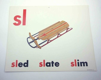 Vintage 1960s Childrens Giant Sized School Flash Card with Picture and Word for Sled