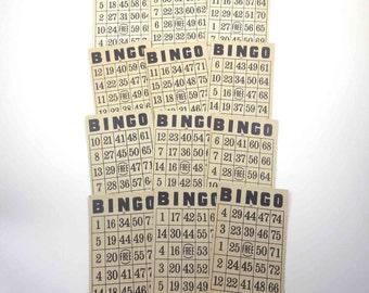 Vintage Black and Ivory Bingo Cards by Milton Bradley Set of 12