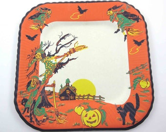 Vintage Halloween Paper Plate with Witches Black Cats Jack O Lanterns Haunted House and Bats by Reed NOS