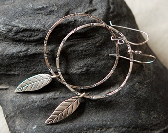 Hoop Leaf Earrings, Large Sterling Silver Hoops with Botanical or Feather Charm, Hand Stamped