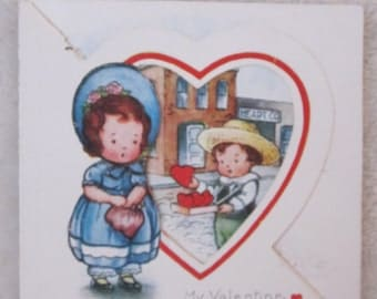 vintage Valentines Day card  girl and boy, 1930s,