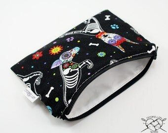 Reusable Snack Bag Makeup Bag Dog Treats Puppies Day of the Dead Ready To Ship