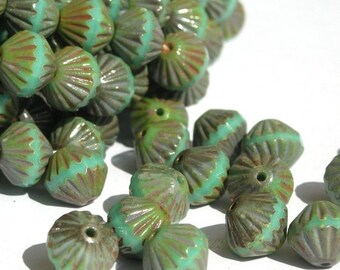 35% off Sale 12 Czech Glass Fluted Firepolish 9mm Beads- Opaque Turquoise  Picasso CZF005