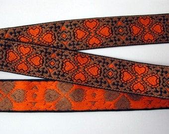 2 yards FOUR HEARTS wide Jacquard trim in orange, brown on black. 1 1/2 inch wide. V689(B)-A