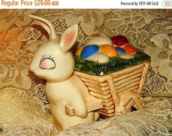 Valentines Day Sale Easter Bunny Vintage 1950's Art Pottry Easter Rabbit Candy Dish, pulling his wagon, Retro 50's  Rockin Rabbit, Shabby Ch