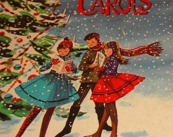 Valentines Day Sale 1942 Rare Christmas Carols Selected and Arranged by Karl Schulte, Illustrations by Lohman, Whitman Publishing, Silent Ni