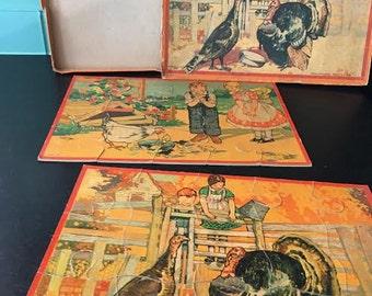 """2 Puzzles - Antique Milton Bradley """"Domestic Birds Picture Puzzle"""" Full Color"""