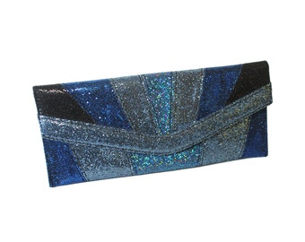 Blue Art Deco Glitter Clutch Purse Disco Snap Sparkle 90s Evening Cocktail Op Art Abstract Geometric Glam Rock Wallet Confetti