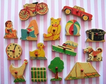Vintage Wooden Puzzle Pieces Simplex with Red Knobs Doll Bike Clock Bear