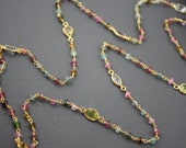 Watermelon Tourmaline and Bezeled Semiprecious stones Long Necklace- Gold Filled by Yania Creations