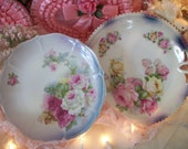 2 antique cabinet plates, glorious full-bloom roses, rich colors, beaded rims. tea party table, cottage chic display. pink & white roses