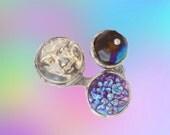 Unisex Statement Ring - Three Pronged Ring - Purple Iridescence and Hologram Moon