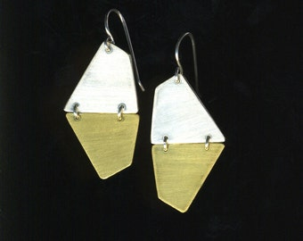 Hexagon Silver and Brass flat dangle geometric 50's retro Dangle Earrings