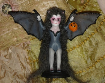 Vampire Bat Girl Doll  Altered Art  Vintage Bisque Doll