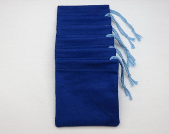 Set of 6, Solid Royal Blue Flannel Cotton Hoo Doo / Mojo Bags / Jewelry Pouches / Handmade