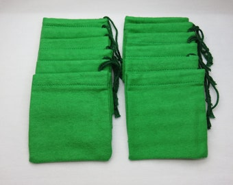 Set of 12, Green Cotton Flannel Hoo Doo / Mojo Bags / Jewelry / Earring Pouches