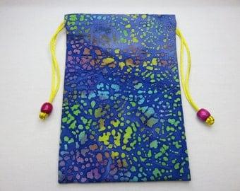 """Purple and Blue Cotton Batik, Silk Lined Handmade Tarot Card Pouch, Tarot Card Bag 5"""" x 7"""""""