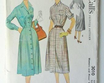 """McCalls 3010 1950s Shirtdress, Button Front Dress, Belted Dress, Day Dress, House Dress Bust 40"""" = Modern Size 18-20"""