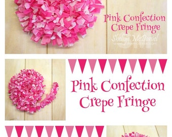 Pink ConfectionHandmade Crepe Paper Fringe, Festooning, Trim, Garland, Decoration, Party, Craft Supply, Streamer, DIY, Hot Pink, Baby Pink