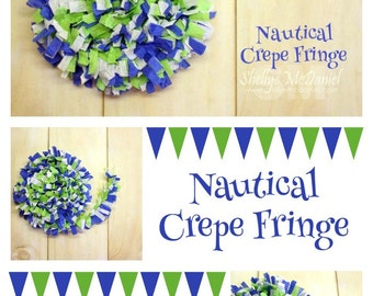 Nautical Handmade Crepe Paper Fringe, Festooning, Trim, Garland, Decoration, Party, Craft Supply, Streamer, Scrapbooking, Royal Blue, Lime