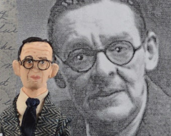 T.S. Eliot Author Doll Poet Classic Writer Miniature Art