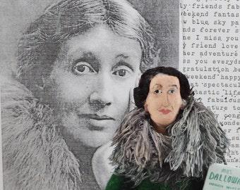Virginia Woolf Author Doll Art Miniature Art  Classic Literature Writer Bookworm Geek