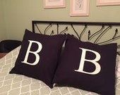 Monogram  Pillow Cover - 20 inch -  - black with cream B