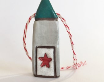 Christmas Tree Ornament Ceramic Ornament House Ornament  red green ooak