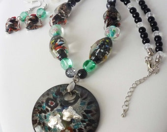 Millefiori-Style Artglass Pendant Bead Necklace + Earrings w SP Greyhound Dogs