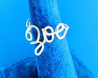 Y O L O or Name  Ring , You Only Live Once .Personalized Gift , Custom handmade jewelry.ANY 4   letters Name or Word ,  Adjustable ring