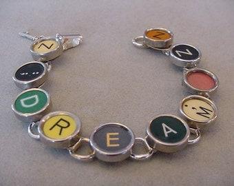 Typewriter key Jewelry Bracelet - spells DREAM Rare Colors Vintage Typewriter Key Bracelet