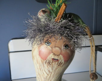 Old World Santa Gourd Loves Snowmen OOAK
