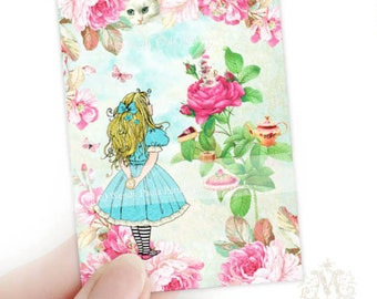 Alice in Wonderland, Aceo, Artist trading card, print, Giclee, Illustration, Tea Party, roses, miniature art, cheshire cat, collectibles