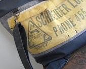 Vtg lumber apron weekender bag, carryall, tote satchel - Schneider Lumber Canton, Ohio - eco vintage fabrics