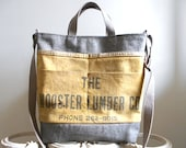 Canvas work apron, raw denim tote cross body bag - Wooster Lumber Co. Ohio - eco vintage fabrics