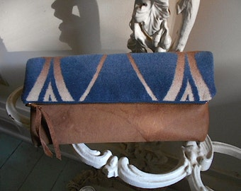Camp blanket leather clutch, handbag, large utility pouch - indigo ombre Art Deco Beacon blanket - recycled eco fabrics