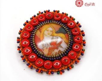 Mucha porcelain cabochon beaded embroidery for a unique brooch - orange, red yellow - art nouveau