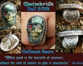 Gheimhridh Favor of the Winter Queen Cailleach Beara Sterling silver Skull and garnet
