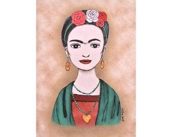 Frida Kahlo Portrait Print Frida Kahlo Illustration Print Boho Chic Home Wall Women Artist Decor Vintage Style Tribal Look Mexican Folk Art