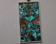 Mosaic Pendant Ooak With Teal Khaki Espresso and Black Van Gogh Glass