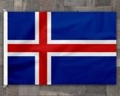 Iceland Cotton Flag, Stitched Design, Icelandic Pennant
