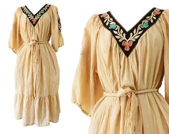 Boho Dress | Vintage Dress | Ramona Rull | Hippie Dress | Embroidered Dress | Peasant Dress | Gypsy Dress | 70s Dress | 1970s Dress