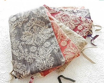 CLEARANCE Upholstery pouch, tapestry zipper pouch, floral print purse, fabric clutch, flat zipper purse, 6 colors