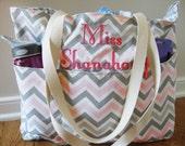 Large Chevron Teacher Bag - Teacher Tote - Monogrammed Bag - Reversible Bag - Personalized Bag - Damask Bag - Teacher Gift  Gift for Teacher