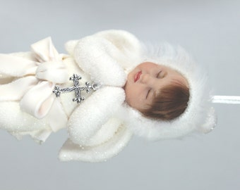 Snow Angel Baby Girl Ornament with silver cross. keepsake for memorial or angel collection. Christmas heirloom for child or child/baby loss.