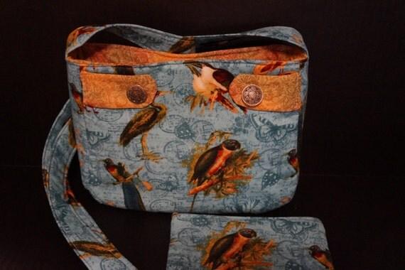 Pretty Tropical Bird Purse with Bonus Cosmetic Bag